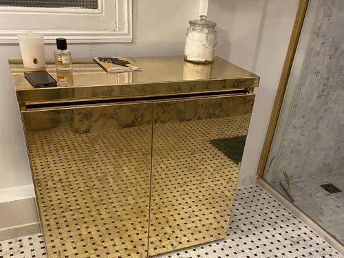 meuble laiton poli miroir